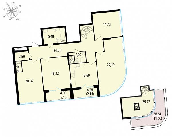 Планировка Четырёхкомнатная квартира площадью 186.81 кв.м в ЖК «Пять звезд»