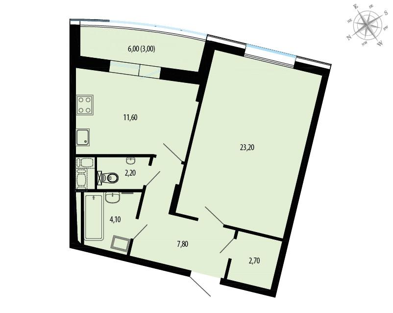 Планировка Однокомнатная квартира площадью 57.6 кв.м в ЖК «Пять звезд»