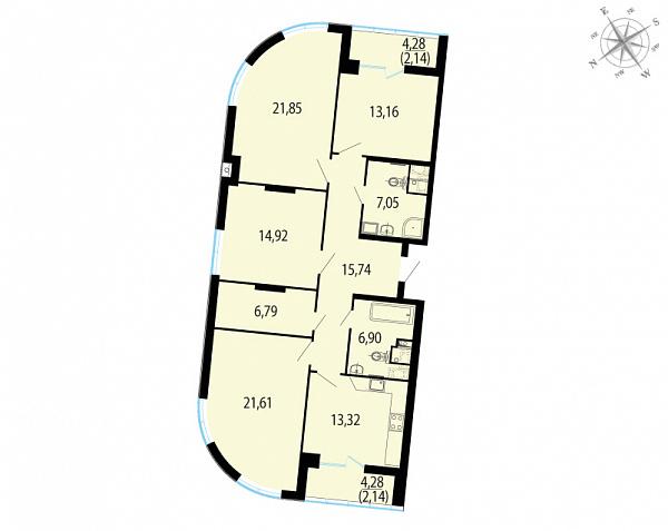 Планировка Четырёхкомнатная квартира площадью 125.62 кв.м в ЖК «Пять звезд»