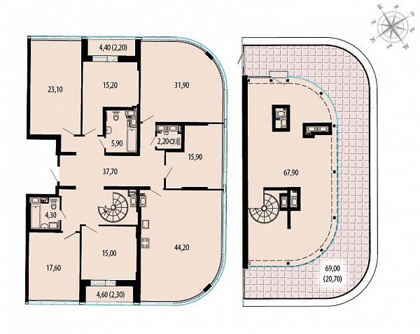 Планировка Шестикомнатные квартиры площадью 306.1 кв.м в ЖК «Пять звезд»