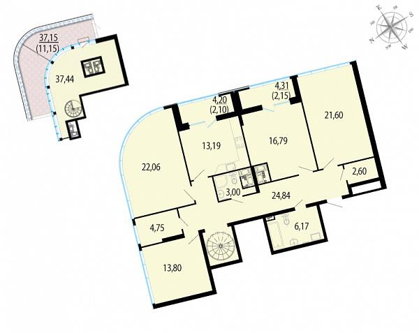 Планировка Четырёхкомнатная квартира площадью 181.64 кв.м в ЖК «Пять звезд»
