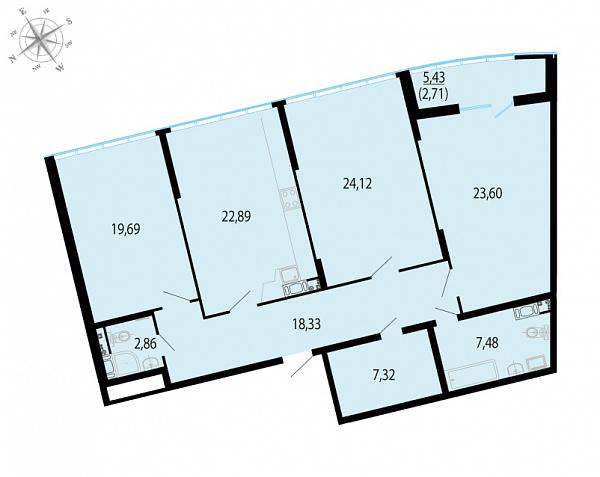 Планировка Трёхкомнатная квартира площадью 129 кв.м в ЖК «Пять звезд»