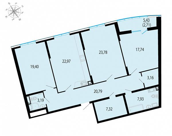 Планировка Трёхкомнатная квартира площадью 128.99 кв.м в ЖК «Пять звезд»
