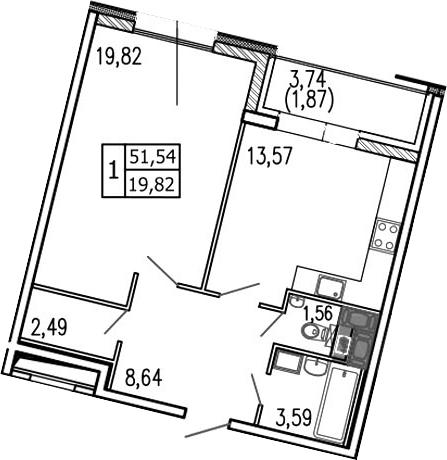 Планировка Однокомнатная квартира площадью 54.8 кв.м в ЖК «Пять звезд»