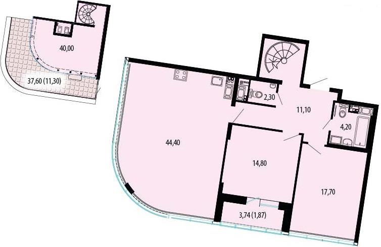 Планировка Трёхкомнатная квартира площадью 181.14 кв.м в ЖК «Пять звезд»