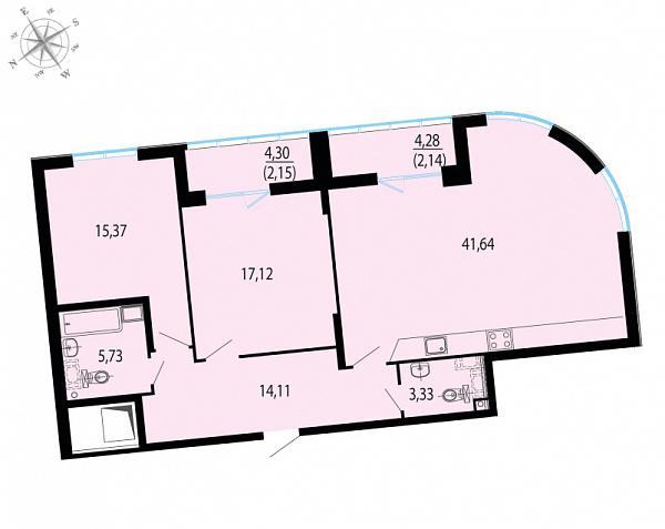 Планировка Двухкомнатная квартира площадью 101.56 кв.м в ЖК «Пять звезд»