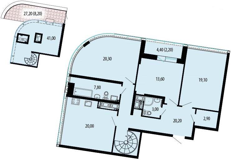 Планировка Четырёхкомнатная квартира площадью 179.63 кв.м в ЖК «Пять звезд»