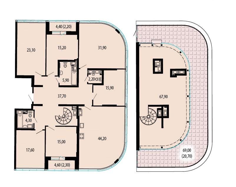Планировка Семикомнатная квартира площадью 358.9 кв.м в ЖК «Пять звезд»