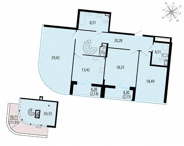 Планировка Трёхкомнатная квартира площадью 179.27 кв.м в ЖК «Пять звезд»