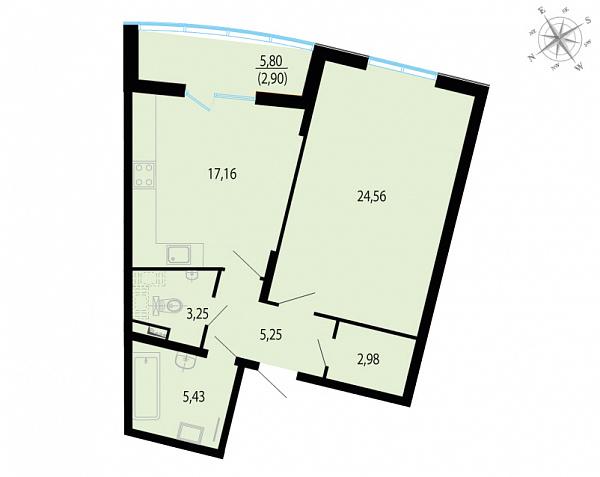 Планировка Однокомнатная квартира площадью 61.53 кв.м в ЖК «Пять звезд»