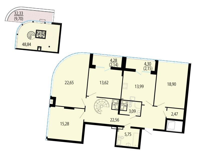 Планировка Пятикомнатная квартира площадью 208.06 кв.м в ЖК «Пять звезд»