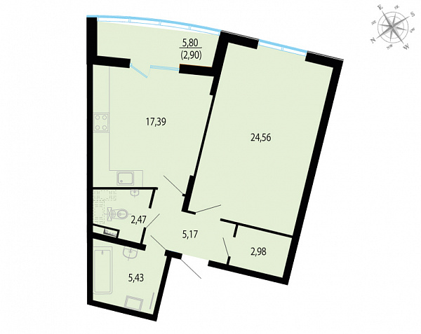 Планировка Однокомнатная квартира площадью 60.9 кв.м в ЖК «Пять звезд»