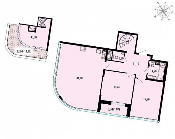 Планировка Двухкомнатная квартира площадью 152.9 кв.м в ЖК «Пять звезд»