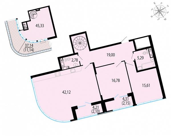 Планировка Двухкомнатная квартира площадью 162.3 кв.м в ЖК «Пять звезд»