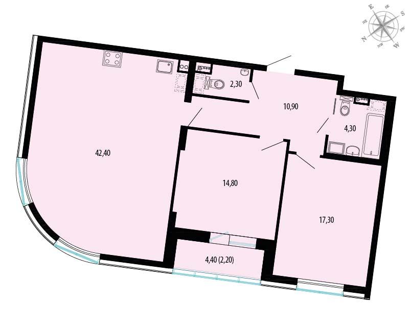 Планировка Двухкомнатная квартира площадью 96.4 кв.м в ЖК «Пять звезд»