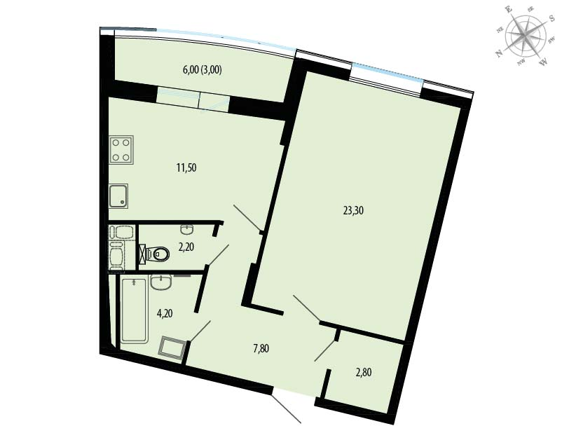 Планировка Однокомнатная квартира площадью 57.8 кв.м в ЖК «Пять звезд»