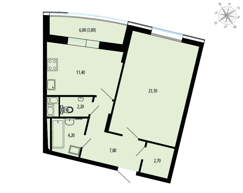 Планировка Однокомнатная квартира площадью 57.4 кв.м в ЖК «Пять звезд»