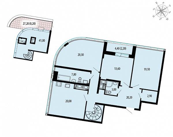 Планировка Трёхкомнатная квартира площадью 158.3 кв.м в ЖК «Пять звезд»