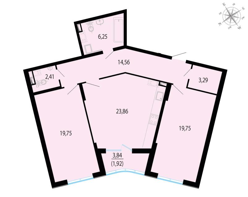 Планировка Двухкомнатная квартира площадью 93.71 кв.м в ЖК «Пять звезд»