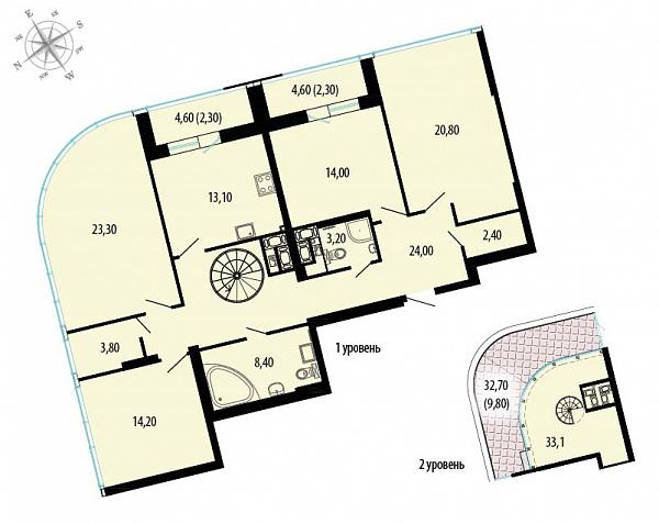 Планировка Четырёхкомнатная квартира площадью 174.7 кв.м в ЖК «Пять звезд»