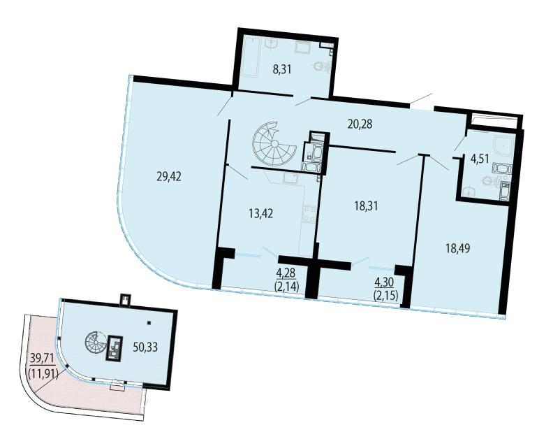 Планировка Четырёхкомнатная квартира площадью 211.35 кв.м в ЖК «Пять звезд»