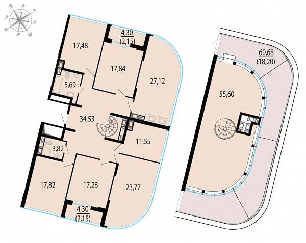 Планировка Шестикомнатные квартиры площадью 255 кв.м в ЖК «Пять звезд»