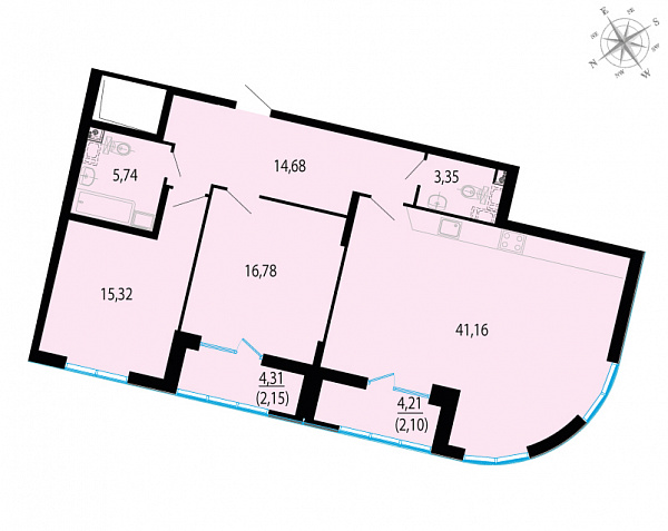 Планировка Двухкомнатная квартира площадью 101.28 кв.м в ЖК «Пять звезд»