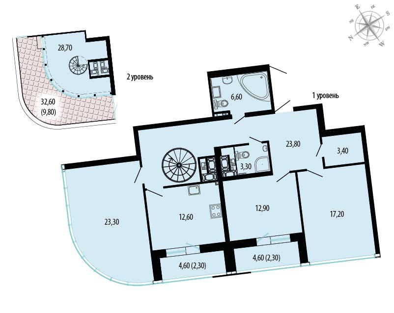 Планировка Трёхкомнатная квартира площадью 173.68 кв.м в ЖК «Пять звезд»