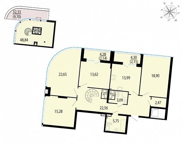 Планировка Четырёхкомнатная квартира площадью 181.14 кв.м в ЖК «Пять звезд»